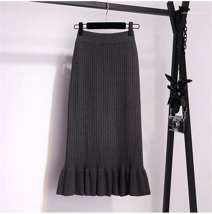 Colore casuale delle donne Knit Tromba Slim Gonne Autunno Inverno Designer One Step Ruffle addensare Gonna femmine Moda Solid
