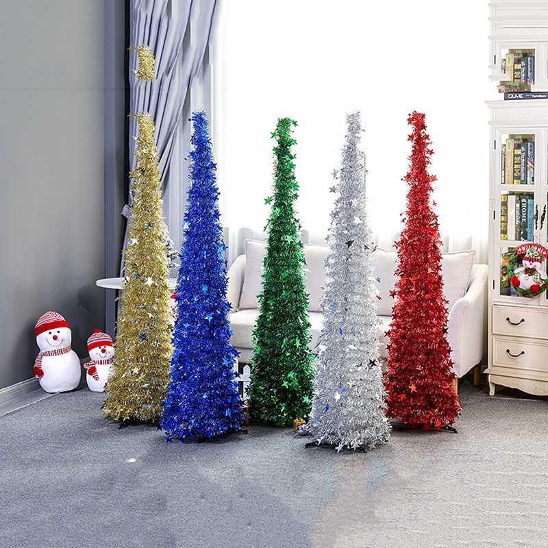 1.2M Bricolage Sequin Arbre de Noël Popup Pliable Tinsel arbre de Noël artificiel avec des arbres Décorations stand