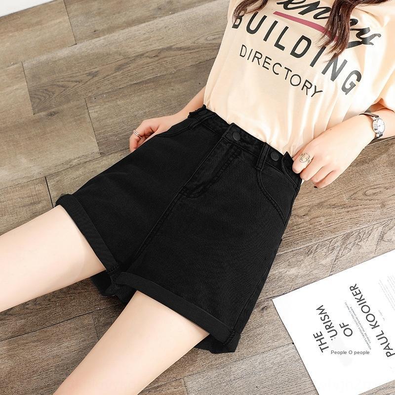 xw588 NNZCi Denim heiße Shorts Shorts Hosen Frauen Stil Taille 2020 Sommer neue vielseitig koreanischen High lose Schlankheits gerade beiläufige heiße Hosen
