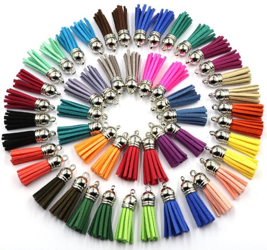 Moda Suede borla para Keychain Straps Encantos de jóias de couro Tassel 40 milímetros DIY Jóias Pulseira Fazendo descobertas 100pcs Epacket livre