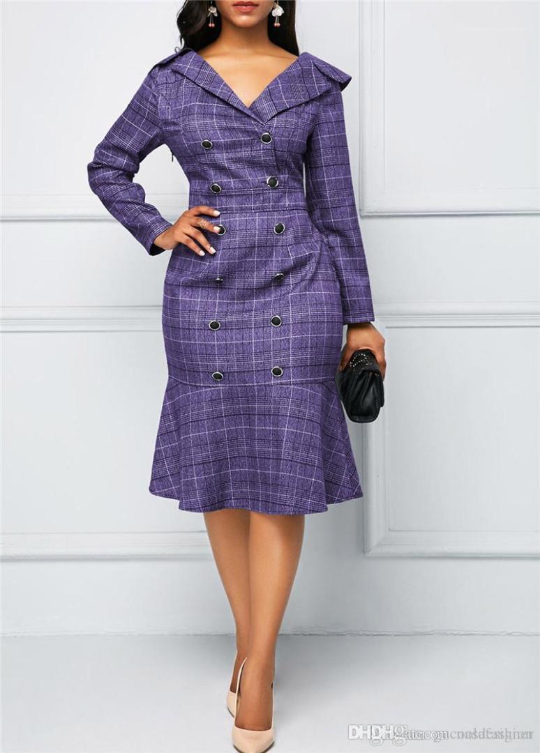 Düğme Kadınlar Moda Ekose Baskılı Elbiseler Sonbahar Kış Tasarımcı V ile Boyun Bayan Elbise Günlük Kasetli Kadın Gevşek Giyim