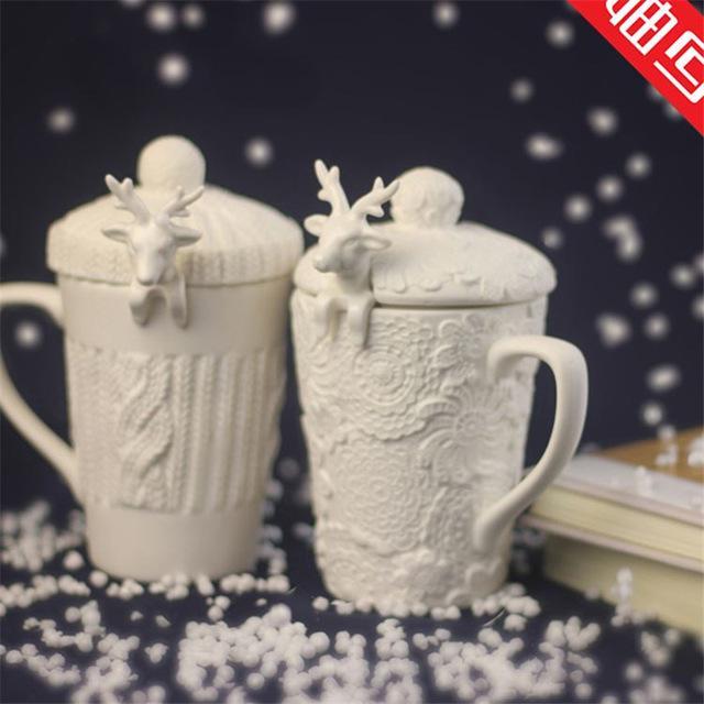 Natale Tazze 3D amimal Coppie Tazze con coperchio Carino Milu dei cervi Coffee Cup tazze di latte Neve Ceramica Boccale Prima colazione tazza creativa Y200106