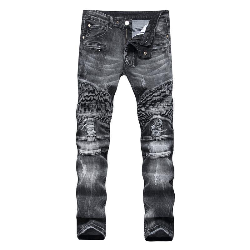 Jeans Menores Gersri 100% algodón Streetwear Hombres Biker Skinny Homme Straight Motor Motorcycle Moto Hip Hop Denim Pantalones Joggers Pista Jean