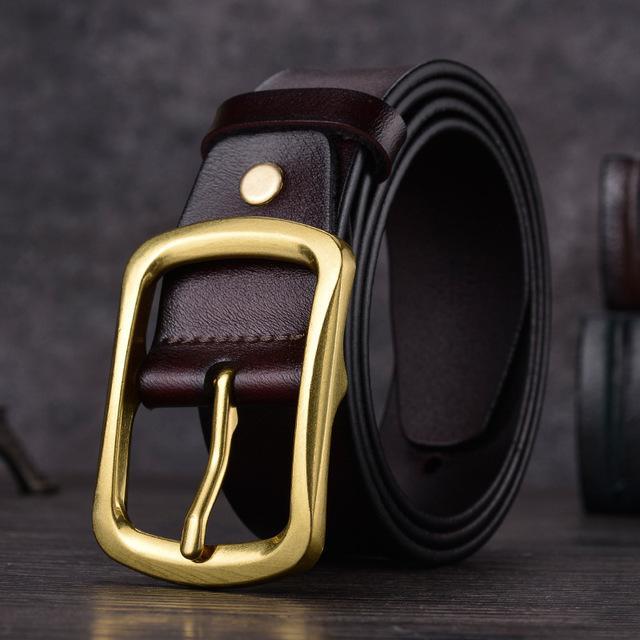 Correas de la manera hombres de la correa de cuero de vaca de la correa de la correa de la hebilla de la aguja de 3,8 cm de anchura Negro Café Brown masculino cinturones casuales 08
