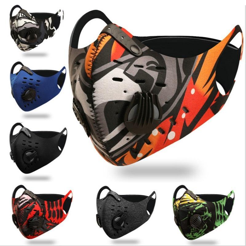 2020 di carbonio Ciclismo maschera di protezione attivato viso maschere anti-fog antivento traspirante antipolvere protezione solare esterna Sport Ciclismo Fac