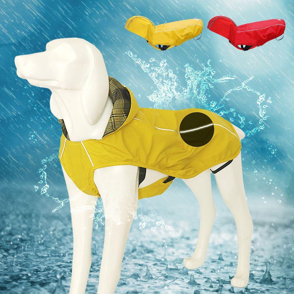 Reversibile riflettente impermeabile del cane pioggia impermeabile cappotto incappucciato Big Dog vestiti dell'animale domestico del rivestimento del cappotto per i costumi Medio Grande cani Labrador di animali