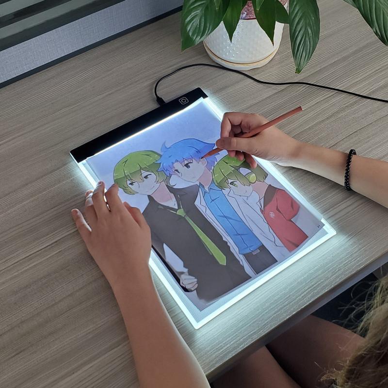 Livello dimmerabile Led Copy Board Drawing Board Toy Giocattolo illuminato Vernice trasparente Scrivario creativo educazione giocattoli per ragazze LJ200922