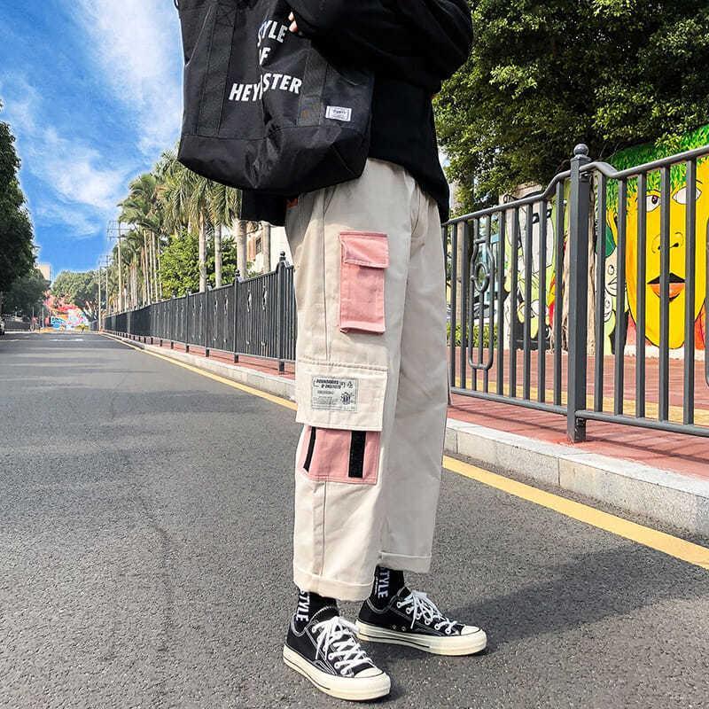 힙합 땀 냄비 자수 일본식 바지 스웨트 팬츠 스트리트웨어 남자 조깅 트랙 캐주얼화물 바지