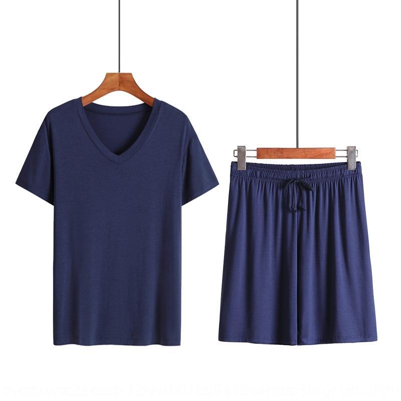 modale scollo a V pigiama sottili degli uomini di estate pigiama casuale di grandi dimensioni all'aperto casa vestito di usura liberamente più grasso