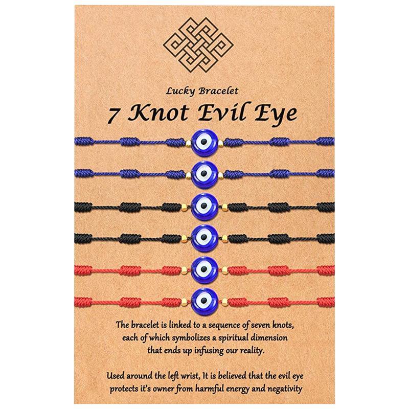 7 Knoten blaues böses auge armband papier karte armband einstellbar glück rot string armbänder frauen modeschmuck freundschaft armband 6psc / set