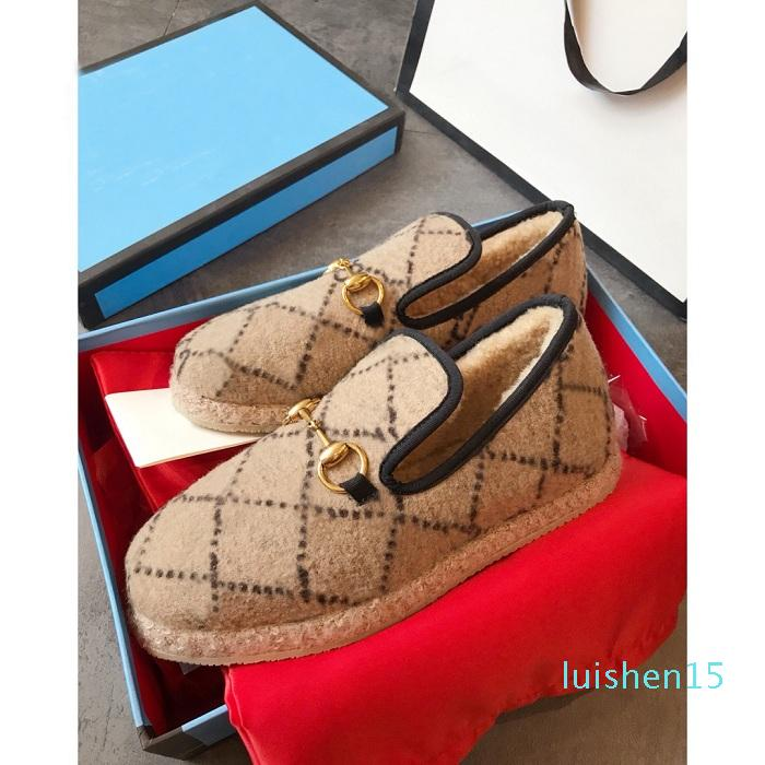 Branded Women Horsebit Textured Wool Loafer Fabrics Rubber Midsole Flat Home Shoes Deisgner Lady Check Tweed Walking Loafer with box l15