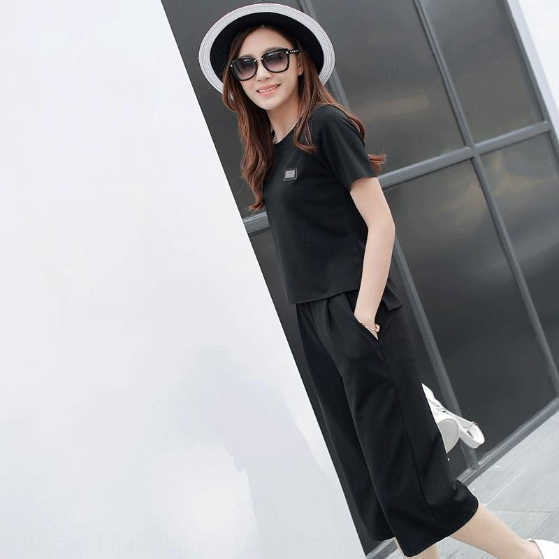 1hGaS T-shirt ampla perna largas calças mulheres verão novo de mangas curtas T-shirt de duas peças terno 2020 estilo coreano roupas de moda terno de toda a perna p
