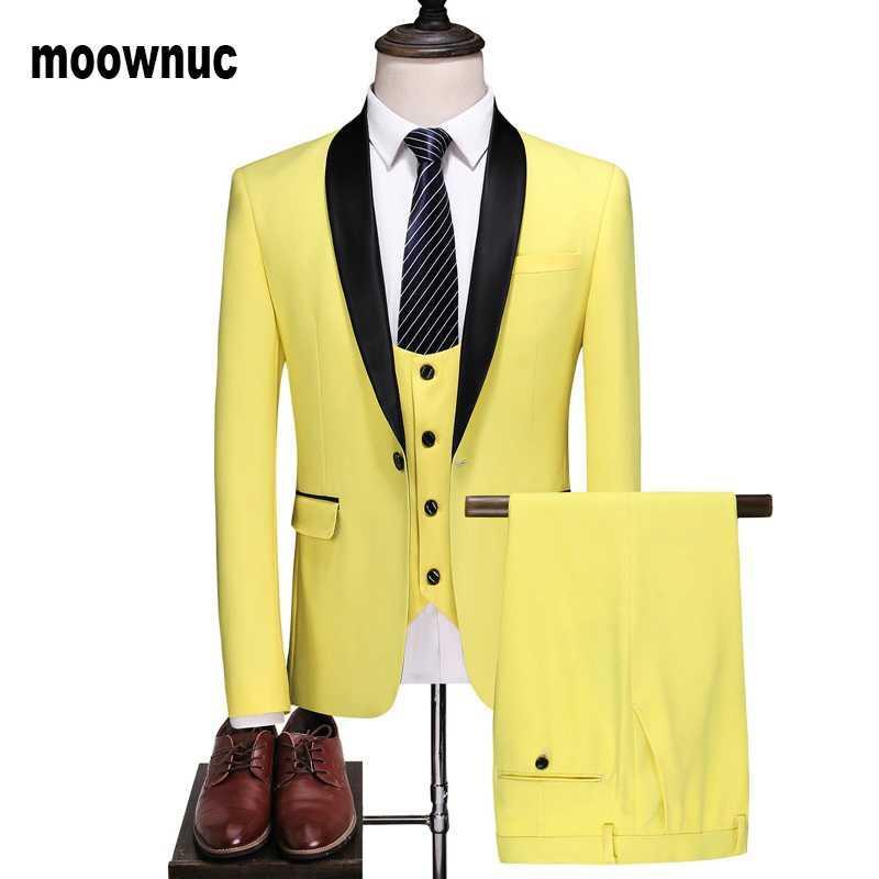 Trajes de vestir chaqueta y pantalones formales de boda Trajes de negocios de los hombres del chaleco de los hombres 3 piezas de alta calidad Slim Fit novio de la boda smoking