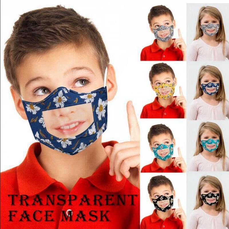 Maschera bambini Fronte Con trasparente della finestra visibile Lip Reading Viso bambini mascherina del fiore riutilizzabile viso maschere YYA197 300pcs