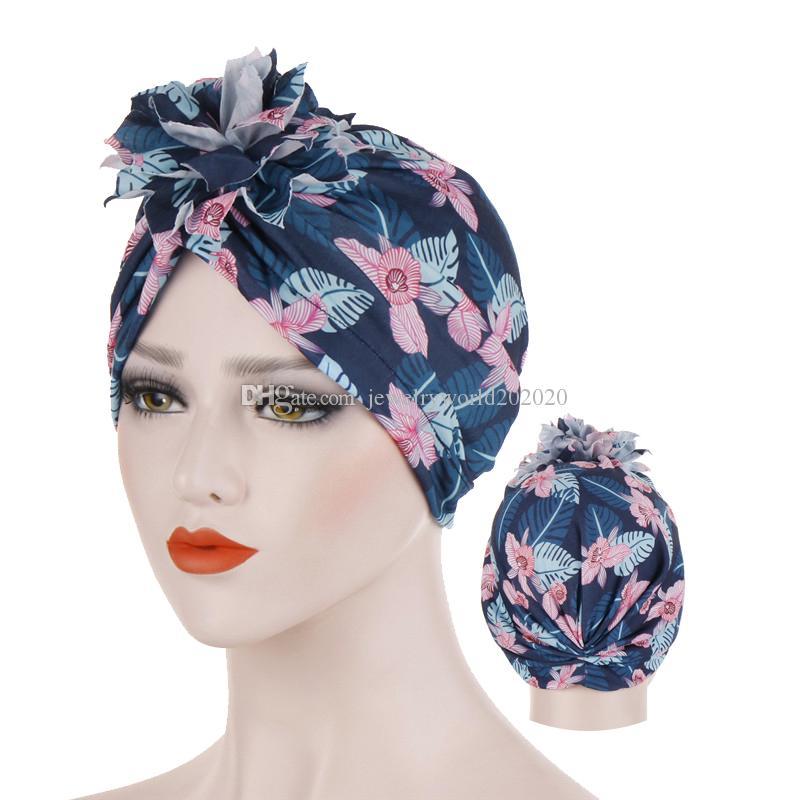 Bohemian woman Inner hijabs cotton printing turban cap ethnic style wrap headdress bonnet muslim hijab underscarf caps turbante