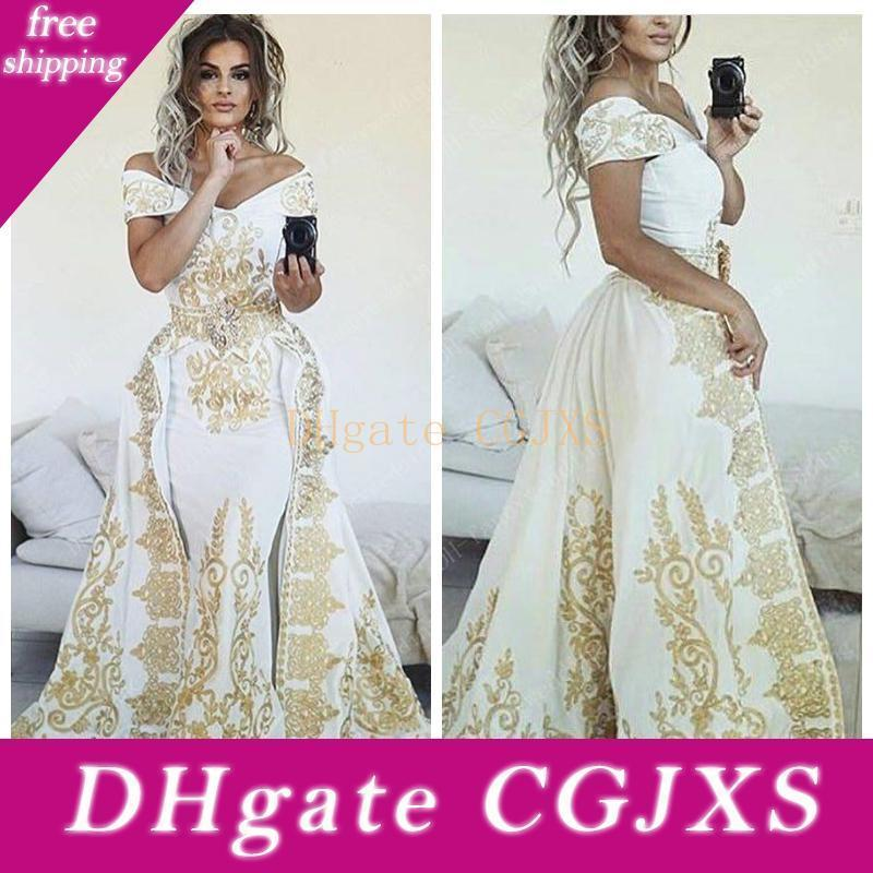 2019 del hombro de la sirena vestidos de baile con oro bordado con cuentas formal de la ocasión Oriente Medio árabe Especial Fiesta Vestidos modesto tamaño extra grande