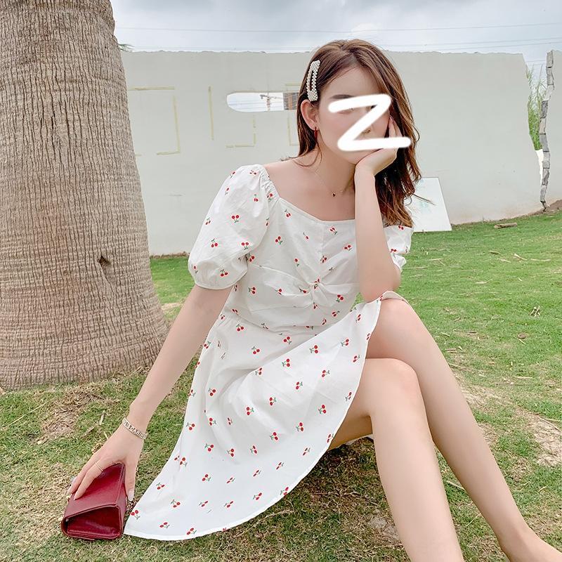 fcbkK CFjcd estate abito manica vestiti 2020 vestito nuovo bianco ciliegia stampato temperamento bolla dolce quadrato del collare di modo del tutto-fiammifero