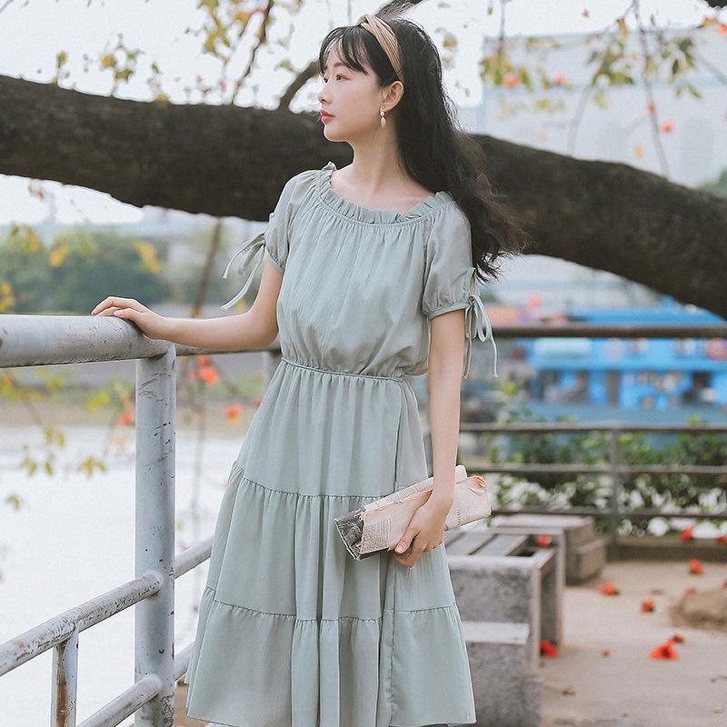 zBcIs bLTkH 2020 Verão novo fresco e doce coreano de uma linha de colarinho 6533 saia das mulheres curta saia de babados vestido de manga vestido #