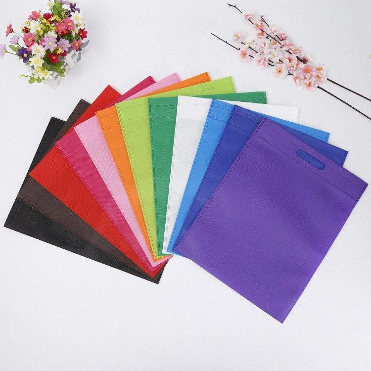 20 pcs Non-woven bag gift bags with handles Treat Bags Solid Color cloth Shopping Bag Multi-use Gift Tote p5s9#