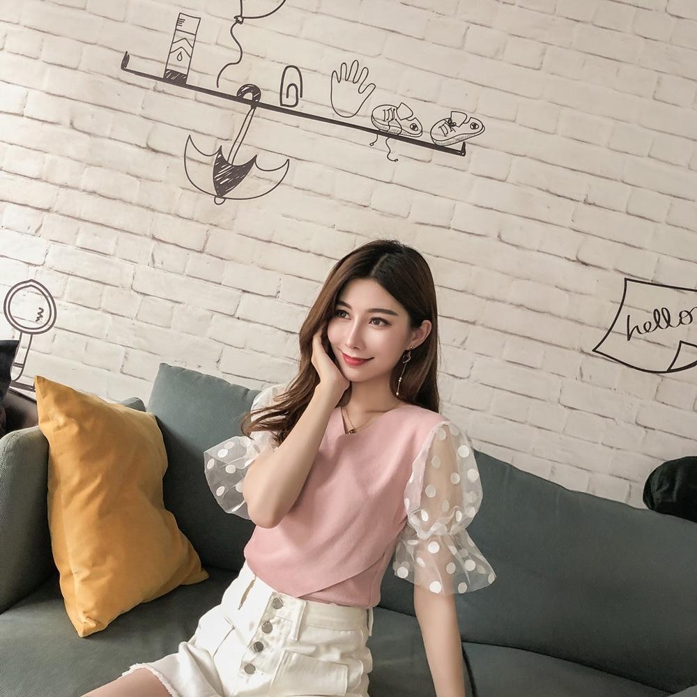 chemise nouvelle polka V-cou femmes dot maille shirt 2838 # 2019 femmes tout match doux tricotée haut à manches courtes pour coutures GOSDO