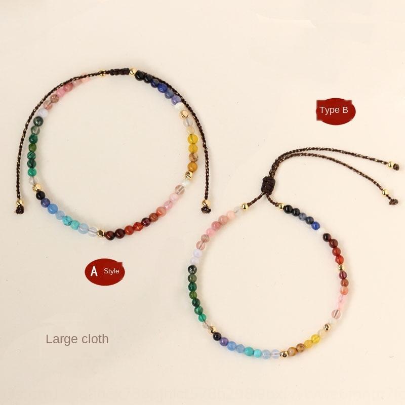 [9689] tela grande de la constelación doce bolas de oro piedra de color mezclado de retención de 3mm tejen generación de cuerda a mano pulsera brazalete de YkA0p YkA0p