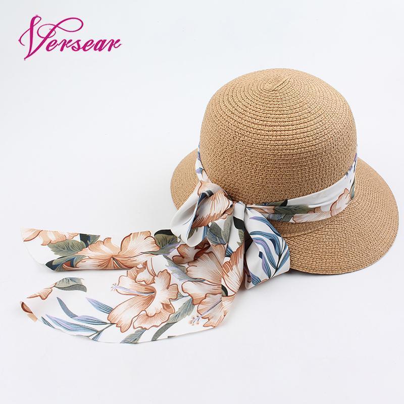 Versear Женщины плетеная соломенная шляпа лето Hat Cap Цветочные печати ленты ленты Брим Бич ВС Мода Солнцезащитный Зонт купола Cap