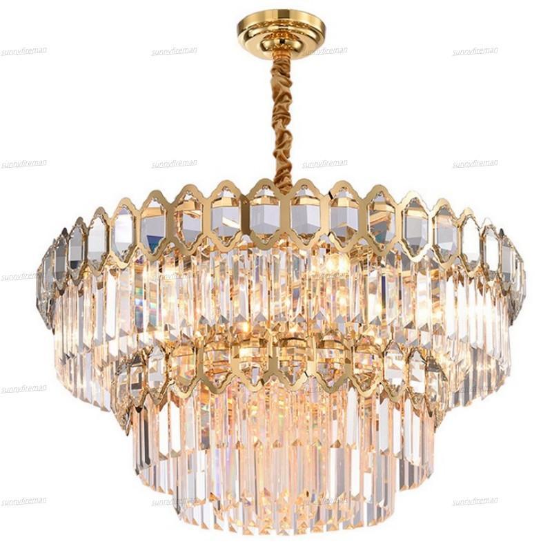Modern Crystal Chandelier Living Dining Lighting Luxury villa Round Gold Crystal Lamps New Design Led Home Lighting