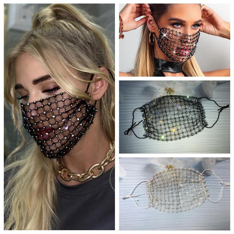 Bling Bling Verbandsmull Strass Gesichtsmaske Mode-Kristall-Diamant wieder verwendbare Gesicht Mundschutz für Erwachsene Nachtclub Designer Maske YYA485