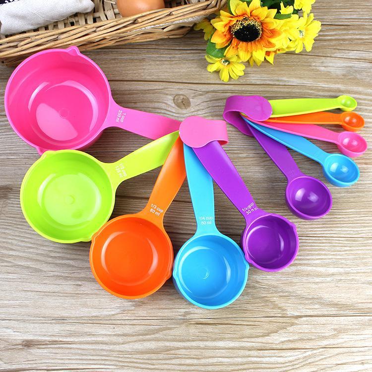 Kaşık Seti Plastik Pişirme Kaşık Kupa Mutfak Aletleri EWF1038 Ölçme ölçün Pişirme Kupa Faydalı Ölçme