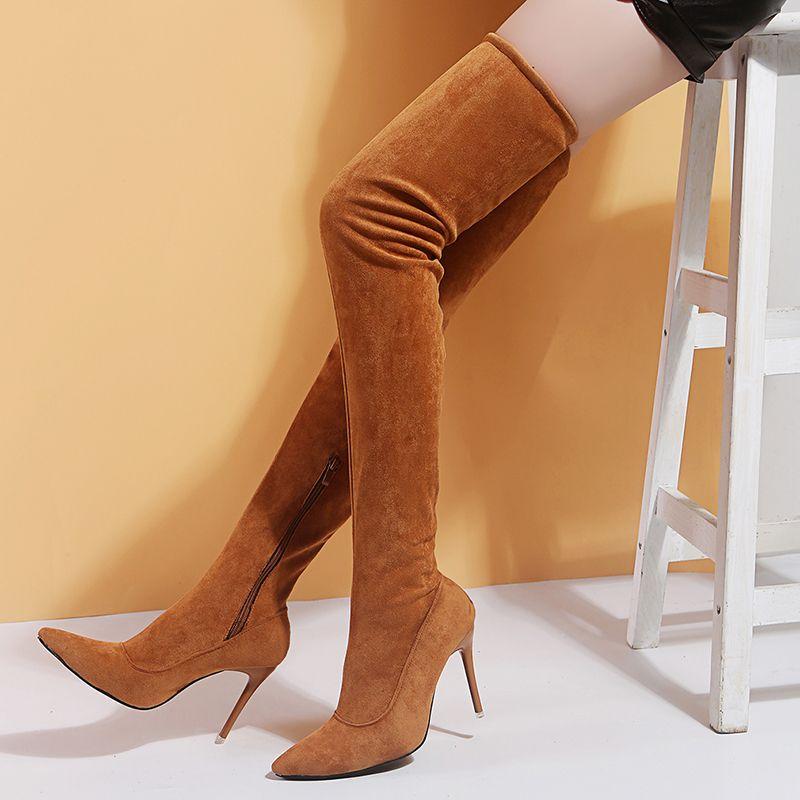 Sobre o joelho botas Marca Calçados estilista para mulheres Salto Mulher Botas Fina alta Sexy partido Botas De Mujer Plus Size 35-43