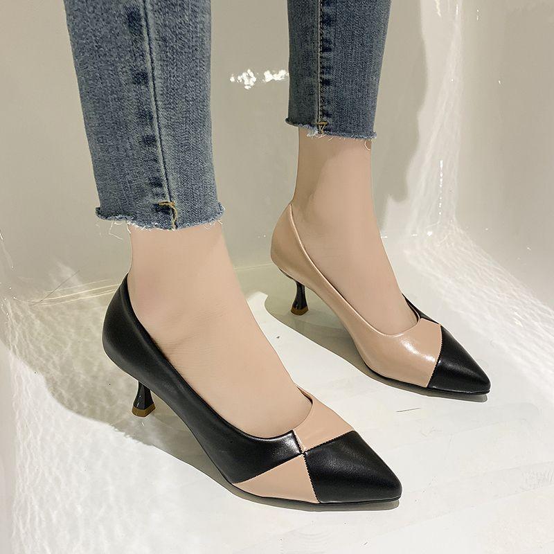 Splicing Matériel bout pointu Talons femmes élégantes Heels femmes minces Pu Chaussures Talon Stiletto Bureau Chaussures de travail