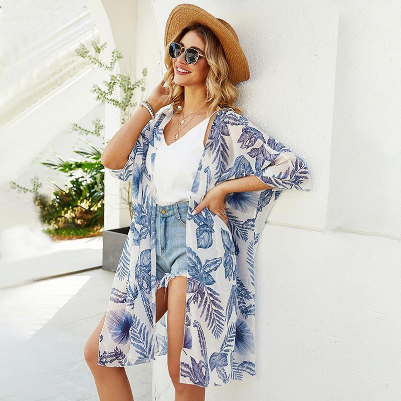 Women Kimono Cardigan Open Front Half Sleeves Printed Slit Summer Shawl Oversized Bohemian Holiday Bikinis Cover Ups Beachwear