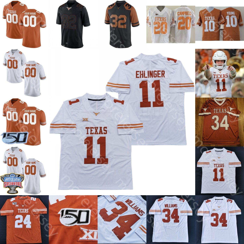 Texas Longhorns Football Jersey NCAA колледж Робинсон Уиттингтон Мур Тарик черный Школьщик Willman Jr. Sam Ehlinger Ingram Young Johnson