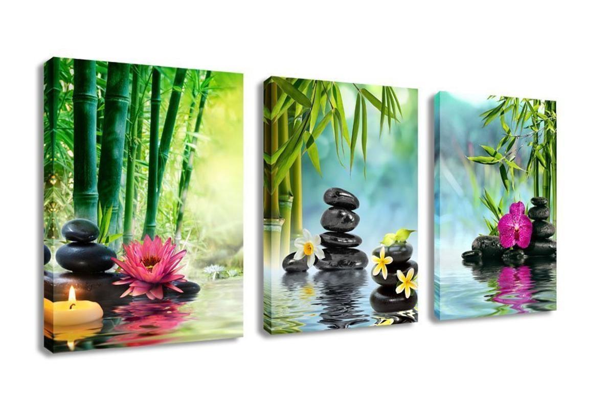 3 painéis moderna da lona Zen pintura de parede Art Decor SPA Pedra Green Bamboo Waterlily Pictures Prints Giclee Arte para Home Office
