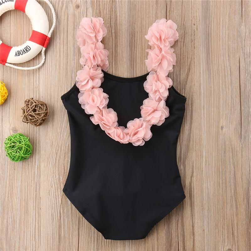 Girls Floral One Piece Swimsuit New Summer Children Backless Swimsuit One Piece Swimwear Bathing Suit Swimming Costume Beachwear