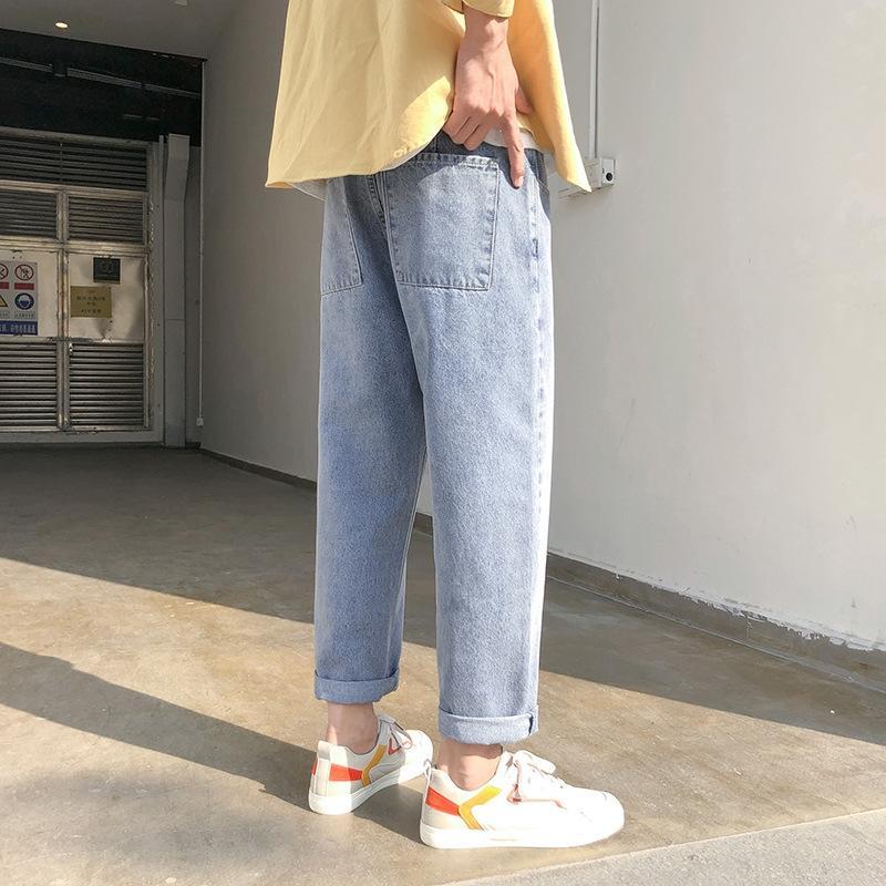 Джинсы мужские летние моды бренд свободные брюки широкий ноги брюки прямо щиколоток брюки корейской молодежной моды универсальный печататься широкий ле