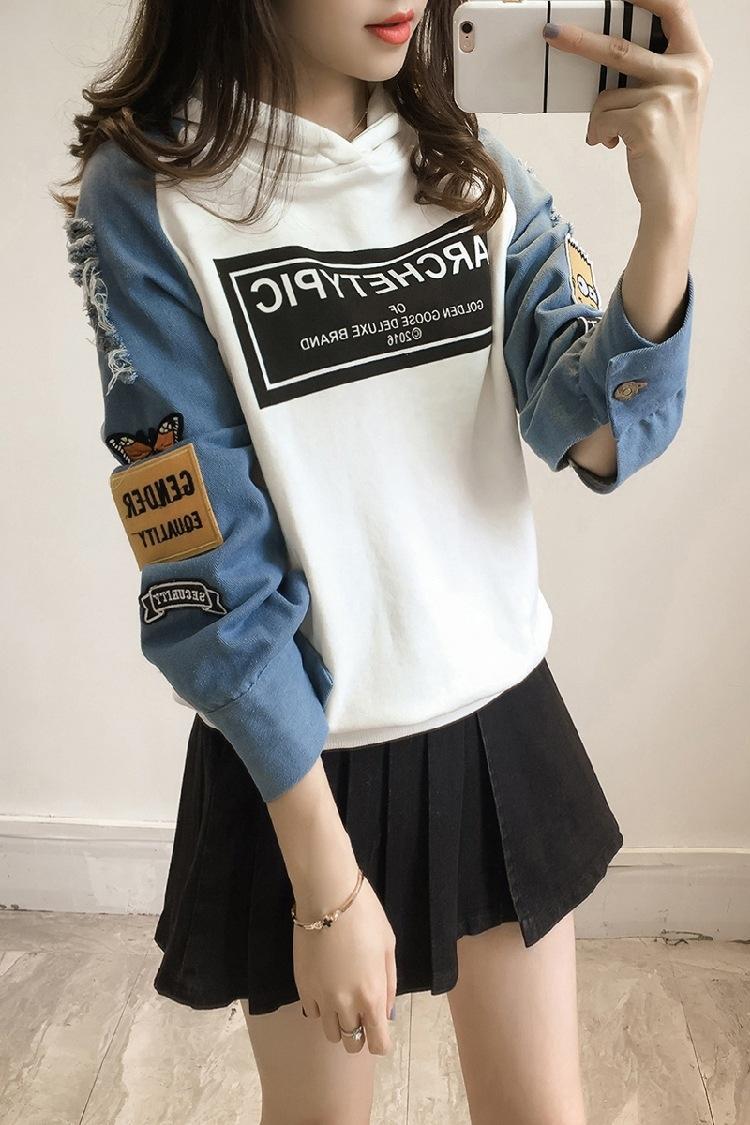 2020 Top style pull-coréen chandail femmes automne étudiant nouveau mode denim loose trous manches longues à capuche dGWcH