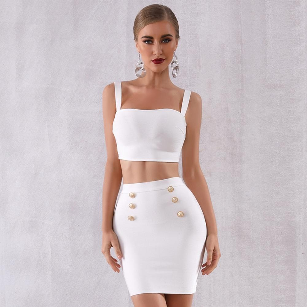 lEO7J skirt Top skirt formal dress Summer bandage two-piece suit top and Suit dress black and white evening party party women's wear
