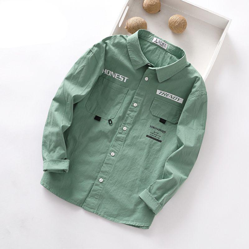 Детские мальчики Рубашка с длинным рукавом осени Твердых малышами рубашка для мальчиков Хлопок мода Baby Boy Tops Детей Рубашки