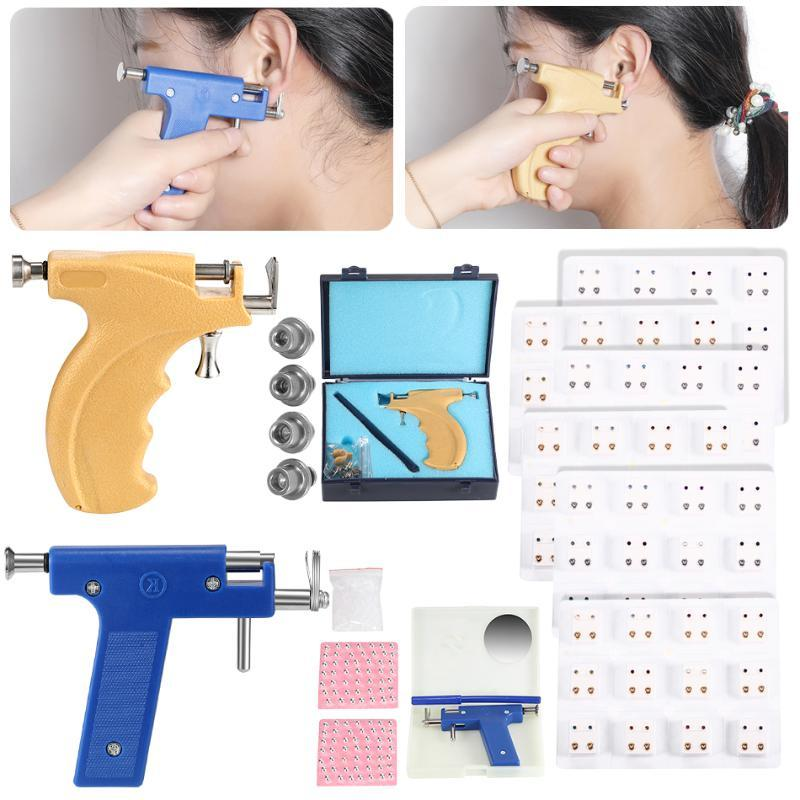 H-S Professional Piercing Gun Tools Kit Ear Stud Gold Earring Ear Nose Navel Body Piercing Gun Set No Pain Safe Sterile