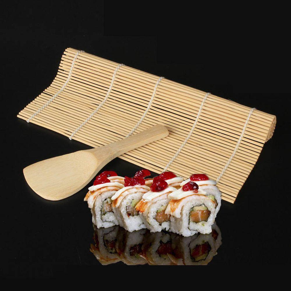 1pcs del balanceo Mat Sushi cuchara DIY Onigiri Rice rodillos Sushi Maker Herramientas de bambú Gadgets de cocina Sushi cortina accesorios de cocina