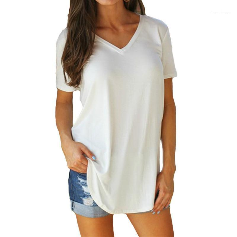 Дамы T-Shirt дизайнеры Сплошной цвет Женская Tshirts Summer Casual с коротким рукавом V шеи Женские топы Мода завернутые