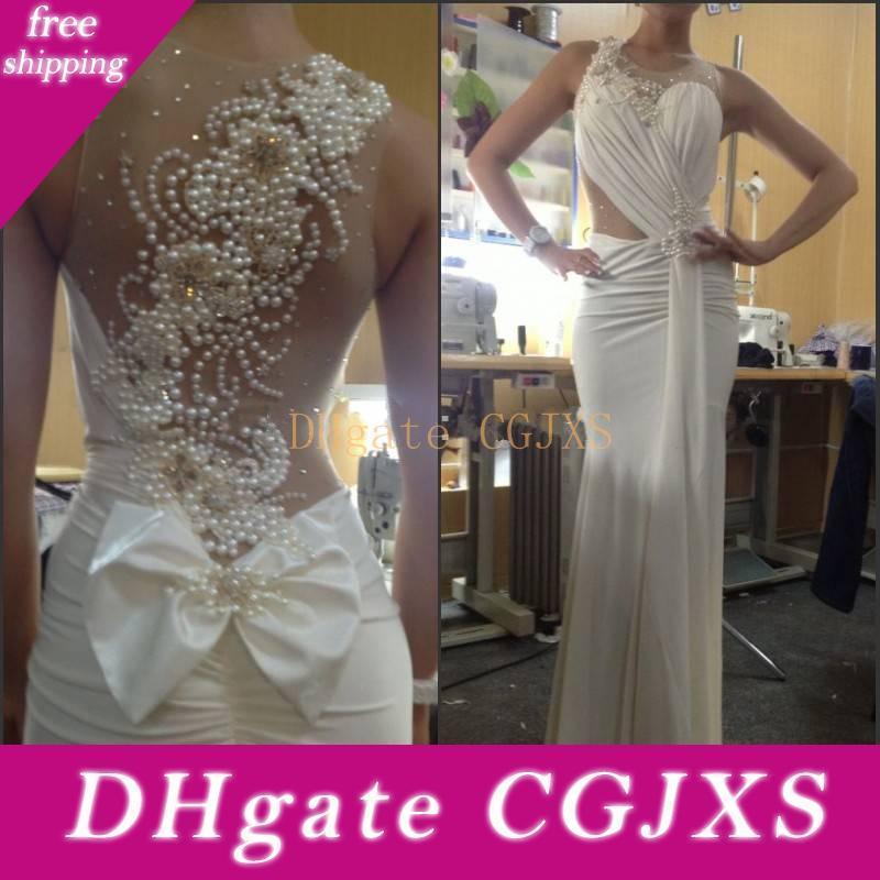 2018 sin mangas atractivo de la sirena vestidos de boda de playa de las perlas blancas de gasa gran tamaño Volver Plus por encargo de los vestidos de boda Vestidos de Noiva