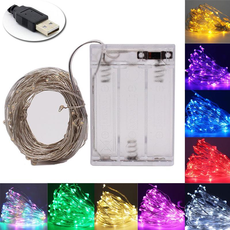 2m 5m 10m 실버 와이어 내각 램프 책장 장식 LED 조명 유연한 문자열 램프 크리스마스 웨딩 파티 실내 조명