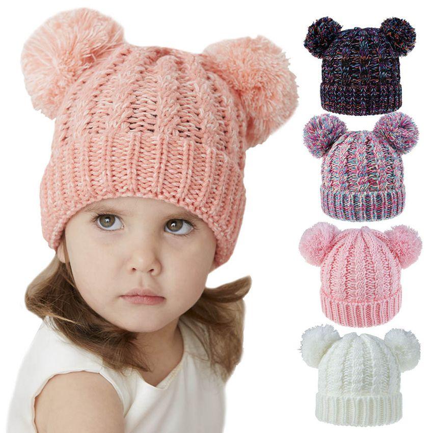 Kids Knit beanie hats children knitting crochet pompom hat 24Colors Baby Winter Warm Skullies Beanie Girl Ski Caps GGA3648-2