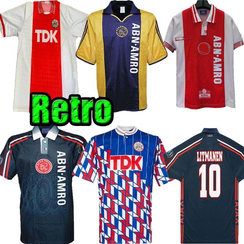 1990 1994 1989 1990 1997 1998 AJAX الرجعية لكرة القدم جيرسي 90 91 97 98 لاودروب ليتمانن F.DE BOER سيبون TURPIJN قميص خمر كرة القدم الكلاسيكية
