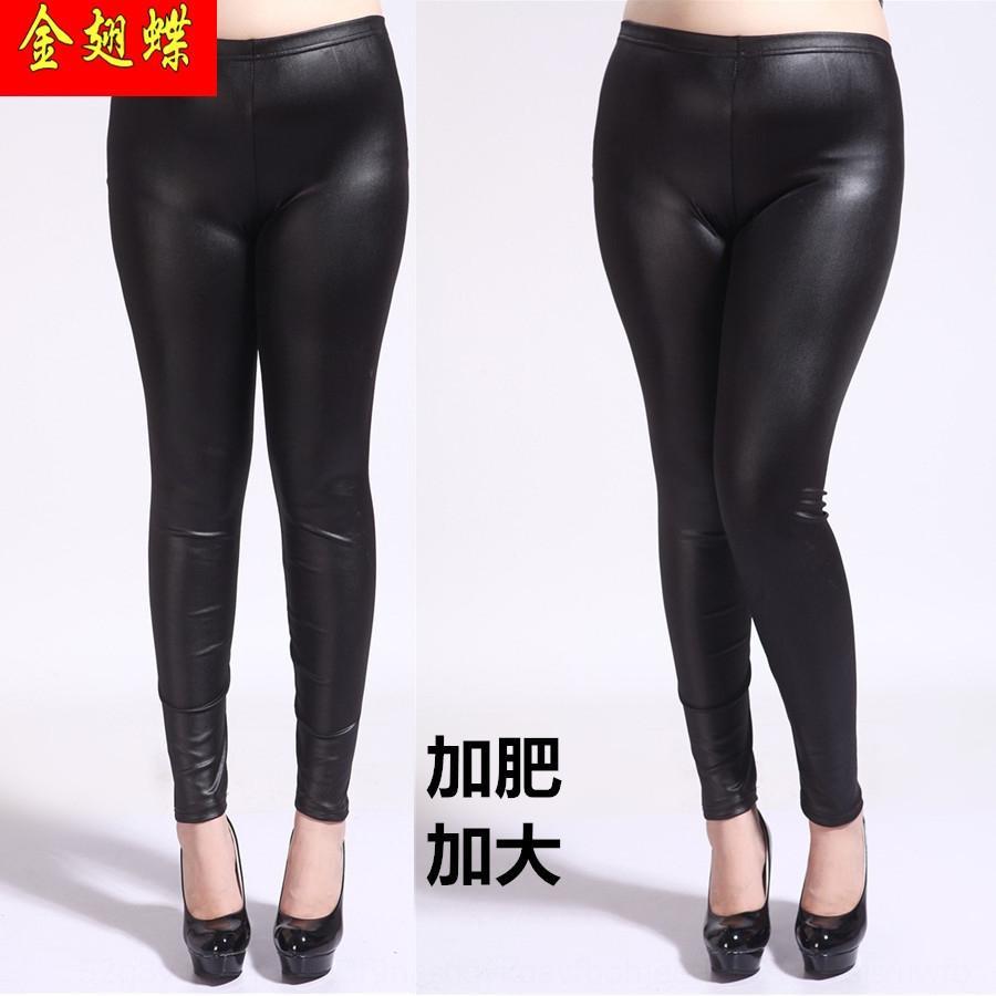 D8pef primavera y otoño más los pantalones apretados tamaño grande de cuero pantalones de los pantalones de cuero de imitación de grandes mallas adicionales de tamaño apretado de las mujeres