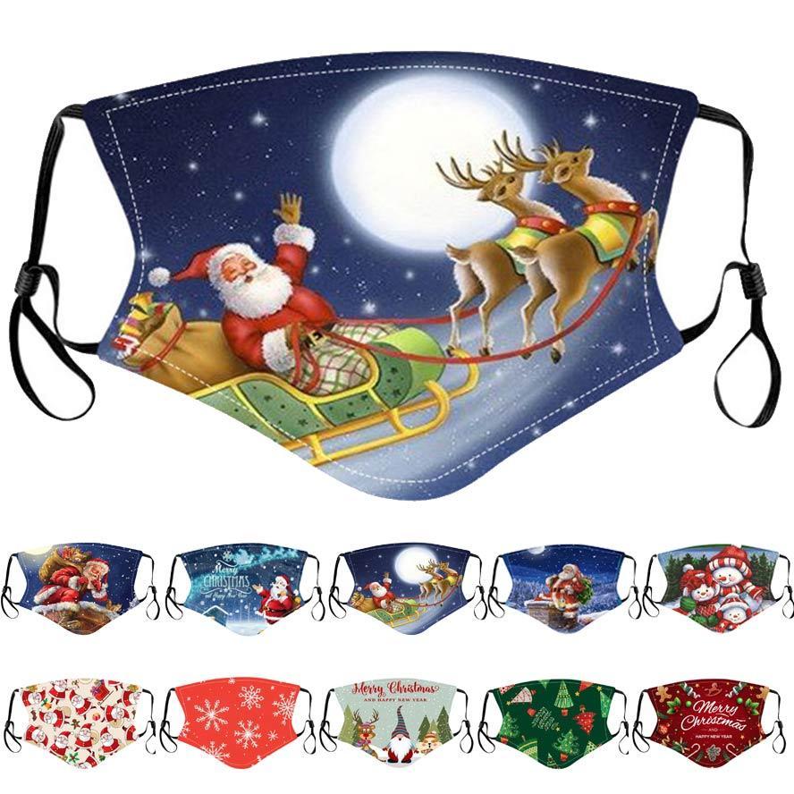 mascarilla niños de Navidad Feliz Navidad Santa Claus regalo del copo de nieve Niños Imprimir mascarillas de dibujos animados mujeres de los hombres a prueba de polvo máscara PM2.5