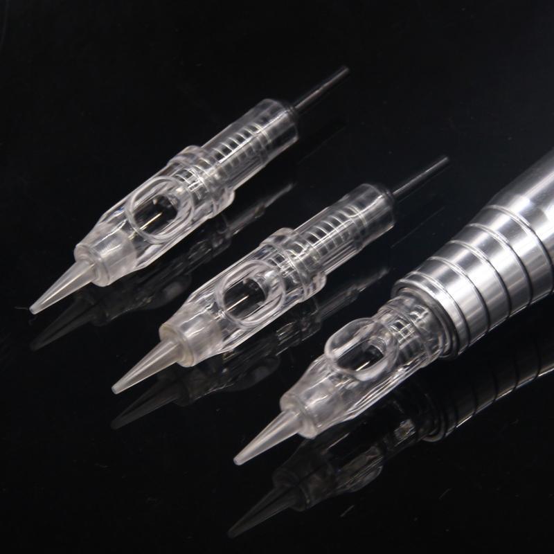 100pcs 1RL 3RL 600D-G Agulhas Kolay Dövme Kartuş İğneler Döner İsviçre Makine Kalem CX200808 için Kalıcı Makyaj İğneler 5RL 5F tıklayın