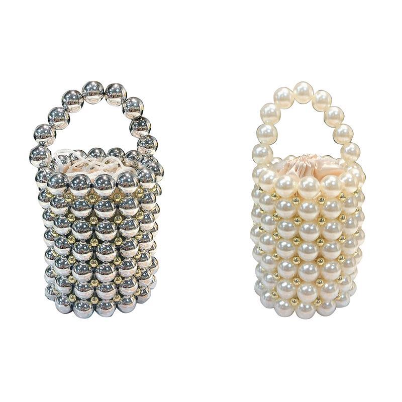 Fggs-ins hueco abalorios hechos a mano mujeres para perlas de noche bolsos de fiesta de fiesta de moda bolso bolso bolso de lujo bolso de lujo blanco damas ost